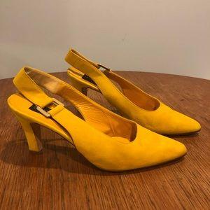 Donna Karan yellow suede sling back pumps